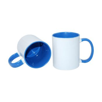 Personalised 2 Tone Mugs with Inner & Rim Sky Blue Colour